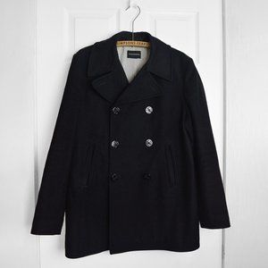 Club Monaco Black Wool Coat Double Breasted